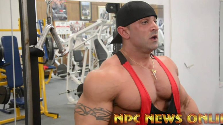 IFBB Pro Bodybuilder's Shawn Rhoden and Guy Cisternino Arm Workout At NPC Photo Gym.